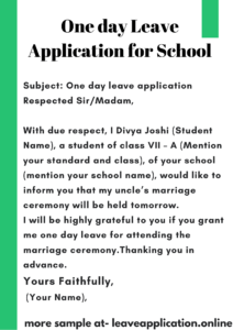 One Day Leave Application for school